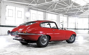Wallpaper red, Retro, Jaguar, E-Type, garage