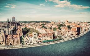 Picture the sky, clouds, river, home, Poland, Sunny, promenade, Gdansk, Motlawa