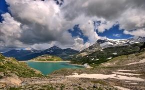 Wallpaper clouds, snow, mountains, lake