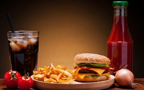 Picture ice, cheese, bow, vegetables, tomatoes, hamburger, Patty, ketchup, Coca-Cola, sesame, fast food, bun, potatoes, fast …