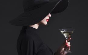 Picture fashion, hat, drink, martini, Lips, haute couture