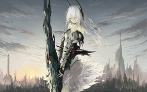 Picture the sky, girl, clouds, the city, home, anime, art, tyappygain