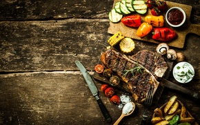 Picture table, tree, corn, cucumber, knife, meat, Board, pepper, tomato, sauce