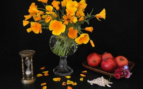 Picture flowers, petals, sink, vase, still life, hourglass, garnet