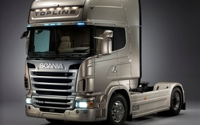 Picture grey, truck, Scania