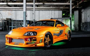 Picture tuning, garage, backlight, vinyl, Toyota, tuning, Supra, stickers, oranzhevy, the fast and the furious, Fast …