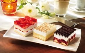 Picture flowers, cherry, coffee, food, candle, strawberry, cream, dessert, cakes, cakes, sweet, glaze, strawberry, vanilla, blade, ...