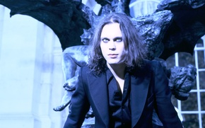 Wallpaper black, the building, wings, costume, statue, musician, singer, singer, composer, HIM, artist, Ville Valo, songwriter, ...