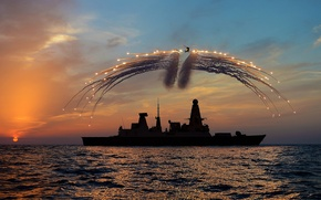 Picture sunset, ship, silhouette, helicopter, Westland Lynx, shooting, heat lowest