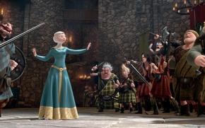 Picture castle, cartoon, candles, Scotland, Archer, Disney, Pixar, Pixar, warriors, Princess, red hair, Queen, Scotland, king, …