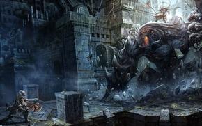 Picture weapons, monsters, drawings, warriors, blizzard, diablo, rpg, barbarian, dark fantasy, chaoyuan xu