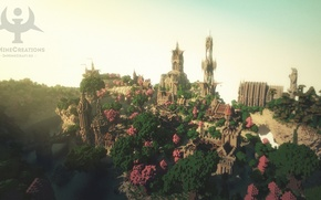 Picture forest, the sky, bridge, the city, river, tower, fantasy, Minecraft, medieval, buildpack