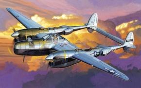 Picture war, art, airplane, painting, aviation, P-38 Pathfinder