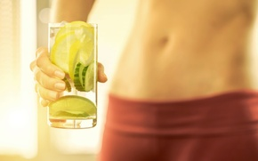 Picture woman, healthy, abs, water with lemon