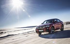 Picture Road, Dust, BMW, Machine, Speed, BMW, Red, Car, Speed, Dust, 2015