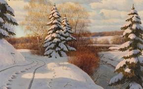Picture winter, snow, trees, landscape, traces, river, shore, tree, picture, birch, Boris Bessonov