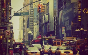 Picture New York, signs, traffic light, taxi, bus, Manhattan, cars, life, crosswalk, United States