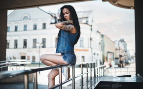 Picture girl, sexy, pose, shorts, sneakers, home, makeup, figure, brunette, tattoo, jacket, hairstyle, railings, street, photographer, ...