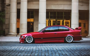Picture tuning, BMW, BMW, red, red, tuning, E36