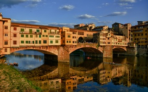 Picture bridge, reflection, river, Italy, Florence, The Ponte Vecchio, Arno