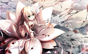 Picture flower, girl, smile, blood, anime, art, bandages, riburanomind