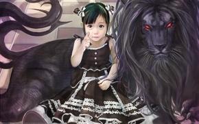 Picture figure, Girl, black lion
