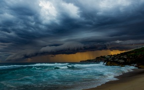 Picture waves, storm, beach, cloudy, raining, troubled sea