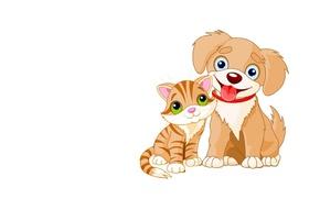 Picture mood, art, puppy, kitty, children's