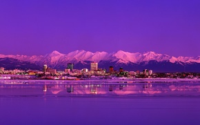 Picture mountains, night, the city, lake, Alaska, evening, Anchorage