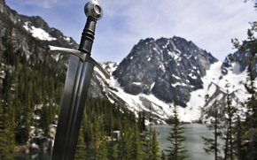 Picture forest, the sky, mountains, nature, weapons, steel, sword, arm