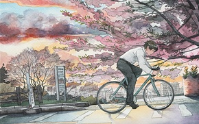Picture bike, the city, speed, Japan, watercolor
