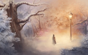 Picture winter, art, girl, lantern, Narnia, Narnia