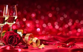 Wallpaper tape, wine, roses, Valentine's Day, petals, braid, glasses, champagne, buds
