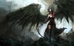 Picture weapons, fiction, wings, art, helmet, braid, fallen angel