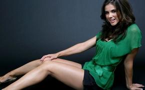 Picture girl, legs, skirt, green dress