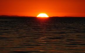 Wallpaper Sunset, Sea, The sun