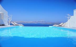 Picture design, style, Villa, interior, pool, Santorini, Greece