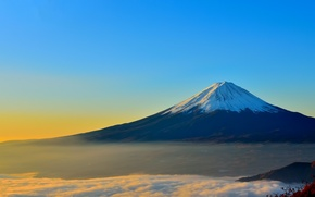 Picture Japan, Mount Fuji, sky, landscape, nature, mountain, snow, fog, mist, Fuji, volcano