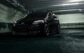 Picture Ford, Car, Focus, Black, Parking, Tuned