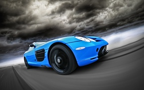 Picture road, blue, McLaren, Mercedes, road, blue, slr, Mercedes, CUT48