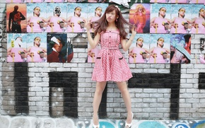 Picture girl, wall, mood, dress, Asian
