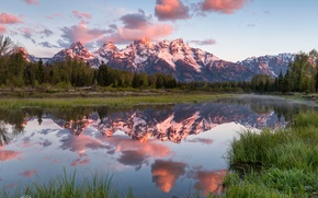 Picture forest, the sky, clouds, light, mountains, river, USA