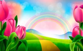 Picture figure, rainbow, tulips