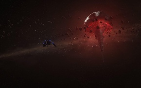 Picture space, stars, ship, station, Mass Effect, Omega