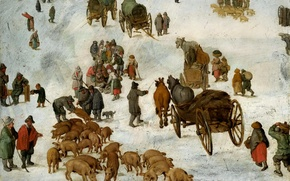 Picture picture, genre, Jan Brueghel the younger, The sketch to the Pig Market
