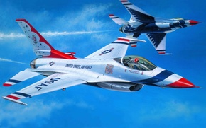 Picture the plane, fighter, art, USA, BBC, Air, The Thunderbirds, Thunderbirds, F-16C, flight, squadron, Demonstration, Squadron., ...