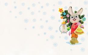 Picture mood, holiday, new year, art, herringbone, Zaichik, Vladimir Zarubin