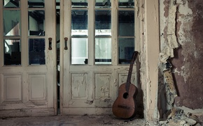 Picture music, guitar, the door