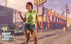 Picture girl, sink, Concept art, tow truck, Grand Theft Auto V, Rockstar Games, Tonya