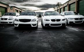 Picture BMW, Mercedes, white, AMG, e90, 328i, F30, C63, 330